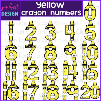 Number Clip Art- Yellow Crayon Numbers {jen hart Clip Art}
