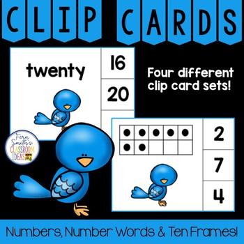 Number Clip Card Center Easy Prep for Numbers, Number Words & Ten Frames Birds