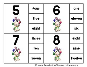 Number Clip Card Center Easy Prep for Numbers, Number Words & Ten Frames Bunny