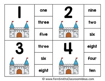 Number Clip Card Center Easy Prep for Numbers, Number Words & Ten Frames Castle