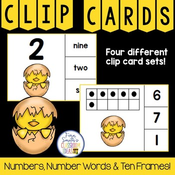 Number Clip Card Center Easy Prep for Numbers, Number Words & Ten Frames Chicks
