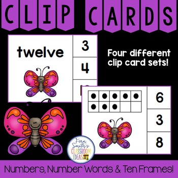 Number Clip Card Center for Numbers, Number Words & Ten Frames Butterflies