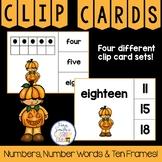 Number Clip Card Center for Numbers, Number Words & Ten Frames Halloween