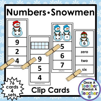 Number Clip Cards  •  Snowmen