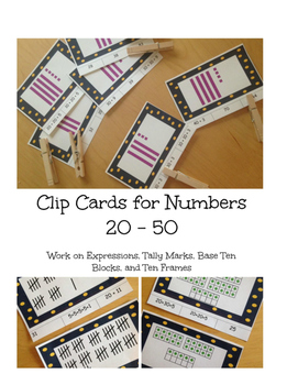 Number Clip Cards for 20 - 50 with Base Ten, Tally Marks,