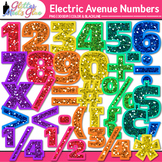 Electric Avenue Numbers Clip Art | Rainbow Glitter Numbers for Classroom Decor
