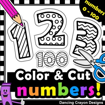 Number Clipart with Cutting Lines   Clip Art for Teachers