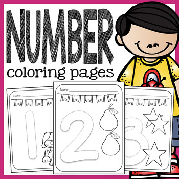 Number Coloring Pages - 1 to 10 Pages with Large Numbers and Coloring Pictures