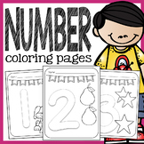 Number Coloring Pages - 1 to 10 Pages with Large Numbers a