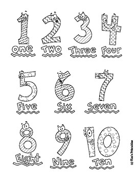 Number Coloring Pages For Preschool Numbers 1 10 By Tim S Printables