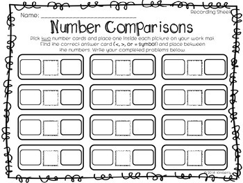 Number Comparisons (Greater Than, Less Than, or Equal Work Mats-Numbers 0-100)