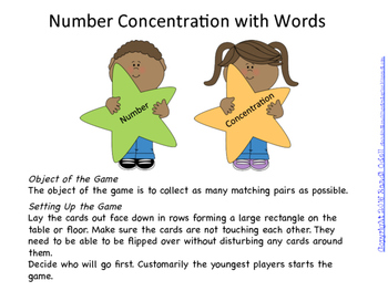 Number Concentration with Words 1-20