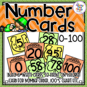Number Counting 0 - 100 - St Patrick's number cards for counting & 100's charts