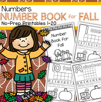 Number Counting Book for Fall 1-20 No-Prep Printables