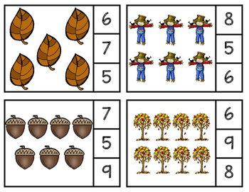 Number Counting Clip Cards