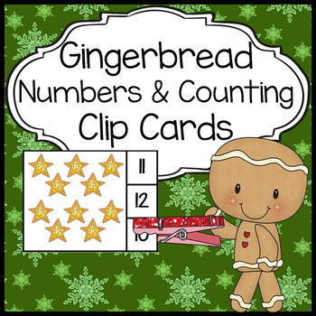 Number Counting Clip Cards - Gingerbread