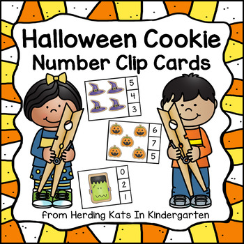 Number Counting Clip Cards - Halloween Cookies