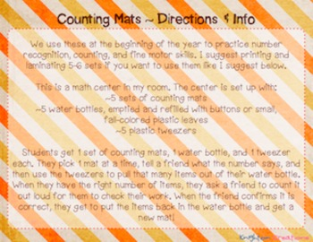 Number Counting & Fine Motor Mats - Fall & Button Themed