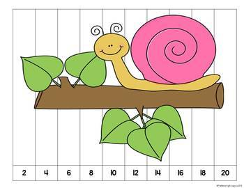 Number Counting Puzzles Snails {FREEBIE}