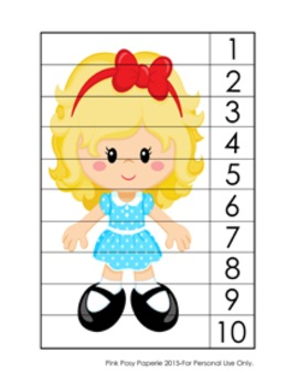 Number Counting Strip Puzzles Goldilocks - 5 Designs