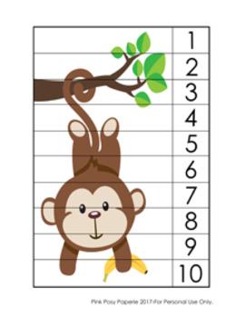 Number Counting Strip Puzzles Jungle Safari - 8 Designs