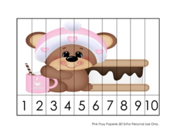 Number Counting Strip Puzzles Winter S'mores Bears - 5 Designs