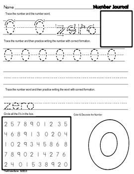 Number/ Counting and Write Math Journal covering numbers 1 to 10