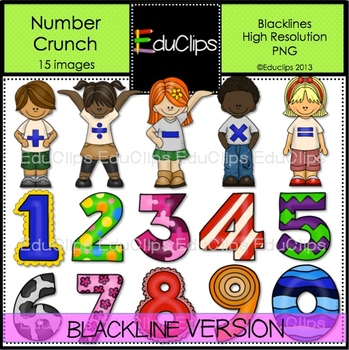 Number Crunch Clip Art BLACKLINES