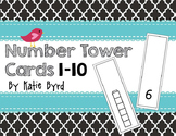 Number Cube Tower Cards 1-10