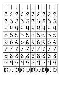 Number Cut Outs 1-10