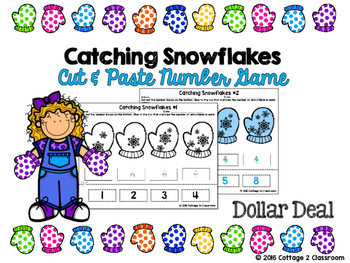 Number Cut and Paste Activity: Catching Snowflakes