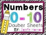 Number Dauber Worksheets 0-10