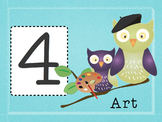 Number Day Signs for Special Areas Owl-Themed and Editable
