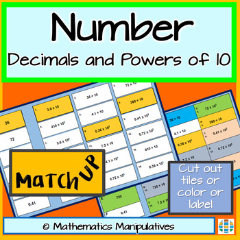 Number Decimal and Powers of 10 Match-Up