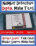 DIGITAL Math Tile Task Cards - Middle School Pack Google Slides