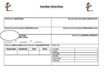 Number Detective Graphic Organizer