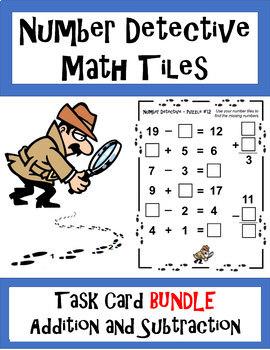 Number Detective Math Tiles BUNDLE - Addition and Subtraction Task Cards