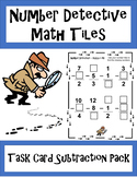 Number Detective Math Tiles - Subtraction Task Cards