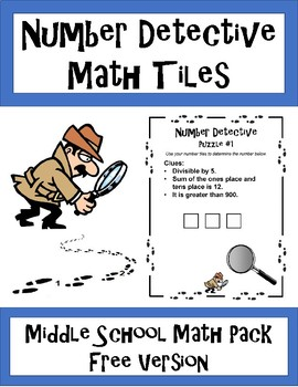 Number Detective Math Tiles for Middle School - 10 Puzzles