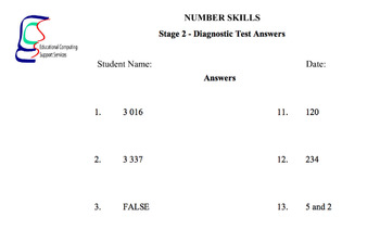 Number Diagnostic Tests and Activity Sheets Years 3 and 4 Printables