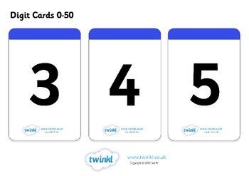 Number Digit Cards (0-50)