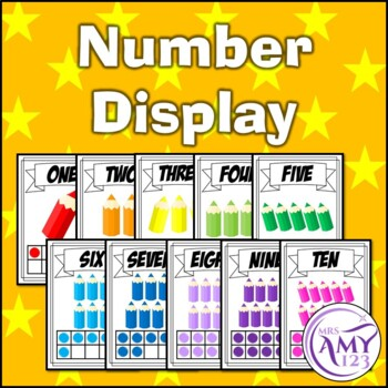 Number Display- 1-10- Pencil Rainbow Theme