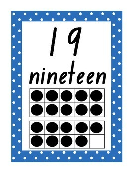 Number Display Posters - 1 to 20 - polka dot theme - classroom management