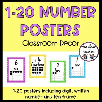 Number Display Posters - 1 to 20 - polka dot theme - class
