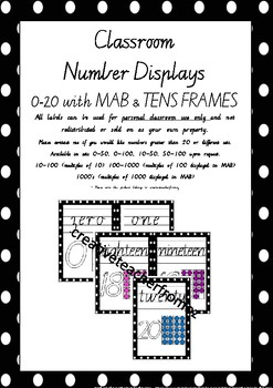 Number Display Cards 0-20 with MAB