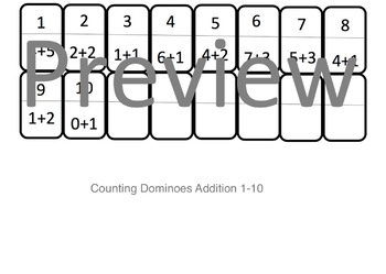 Number Dominoes Addition Version 1-10