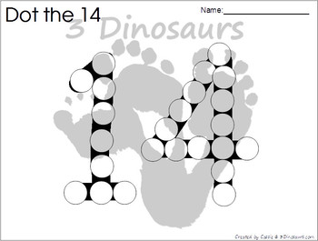 Number Dot Marker Worksheets - 0 to 20 by 3 Dinosaurs | TpT