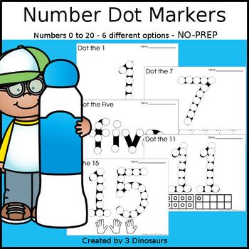 Number Dot Marker Worksheets - 0 to 20