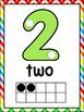 Number Dot Ten Frame Posters -Rainbow Chevron