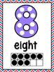 Number Dot Ten Frame Posters - Red, White & Blue Chevron